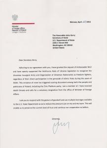 Brief von Grzegorz Schetyna