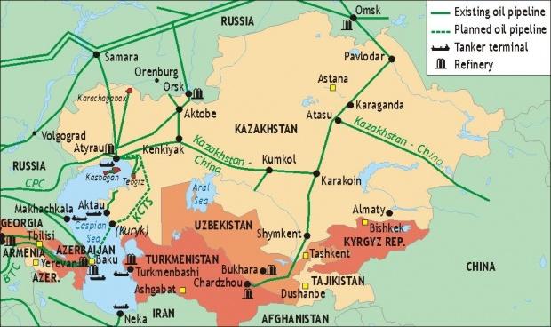 Erdölpipelines in der Kaspischen Region